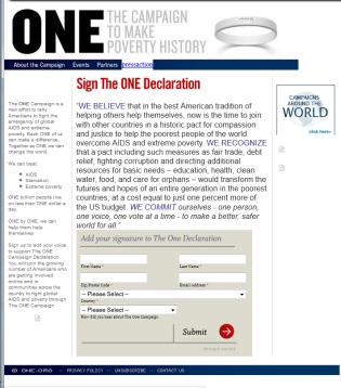 ONE website, March 2005